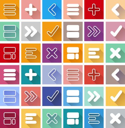 designator: Arrow sign icon set. Simple circle shape internet button on color background. Contemporary modern style. This vector illustration web design elements Illustration
