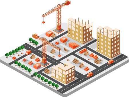 construction equipment: Detailed illustration of isometric construction building with construction cranes and trucks and houses
