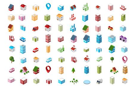 色付きのアイコン等尺性都市のセット。
