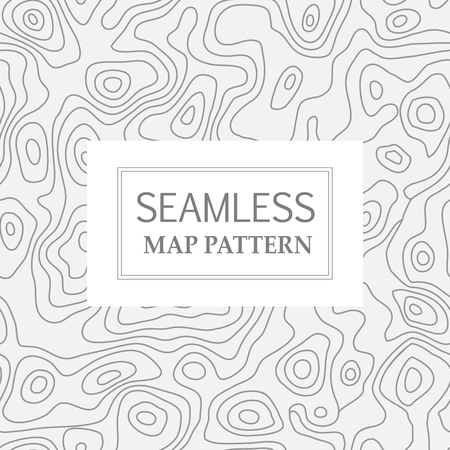Seamless repeating topographic contour map background, vector illustration Illustration