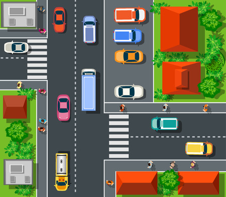 crossroads: Top view of the city. Top view of urban crossroads with cars and houses.