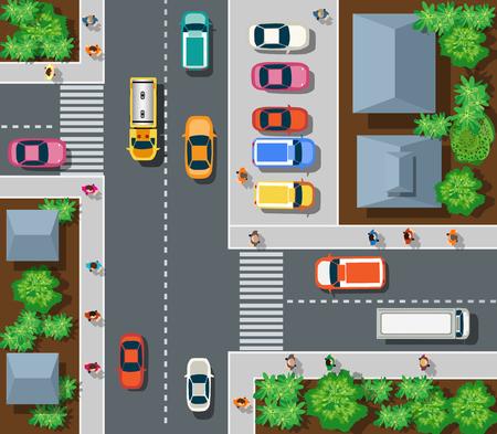 Bovenaanzicht van de stad. Bovenaanzicht van de stedelijke kruispunten met auto's en huizen.