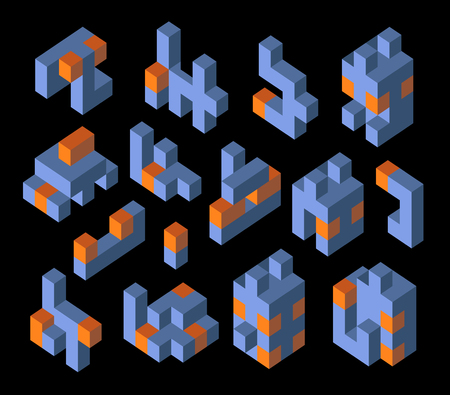 orthographic symbol: Isometric abstract geometric design elements with colored parts on a dark background