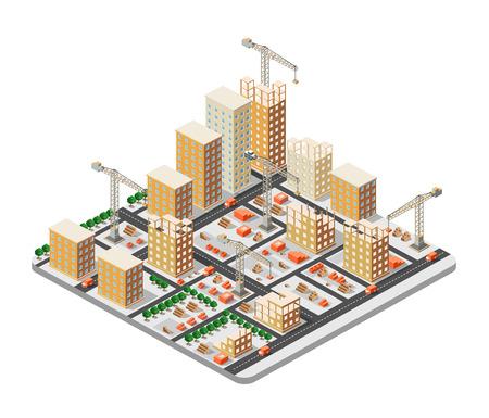 acero: ciudad grúa industria de la construcción isométrica gran ciudad Vectores