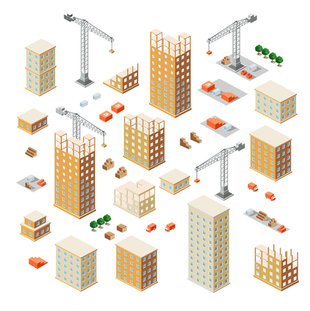 site: Crane construction industry town Isometric big city