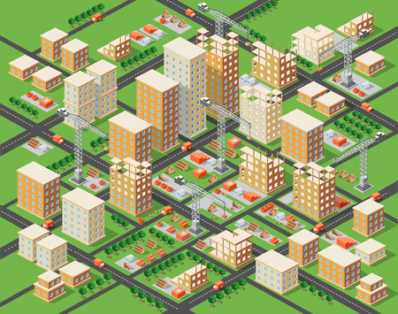 construction machinery: Crane construction industry town Isometric big city