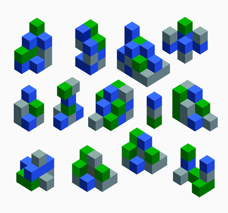 orthographic symbol: Isometric abstract geometric design elements with colored parts on a white background