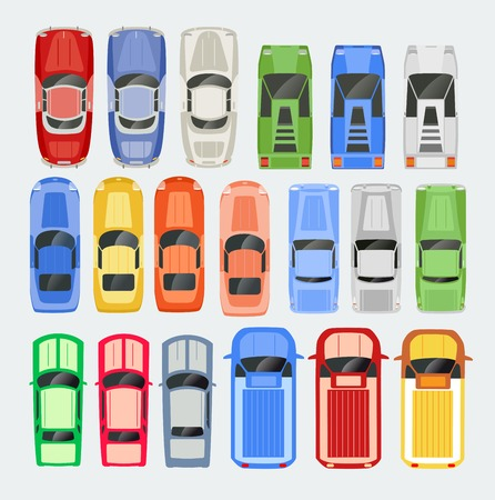 above: Cars Transport top view icon set isolated vector illustration in flat style