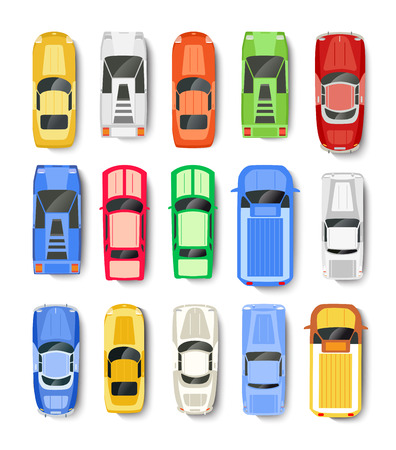 cabrio: Cars Transport top view icon set isolated vector illustration in flat style