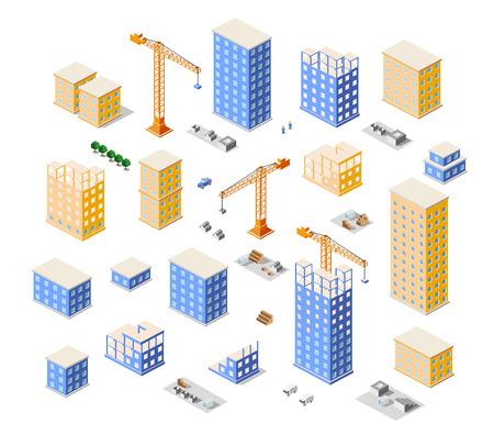 heavy construction: Crane construction industry town Isometric big city