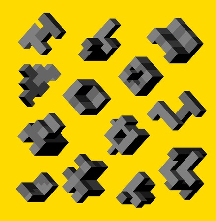 orthographic symbol: Isometric abstract geometric design elements with colored parts on a yellow background