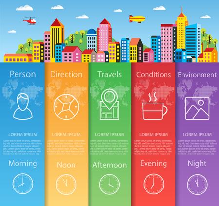 Stadt Infografiken in flachen Stil-Konzept für Geschäftsinformationen Standard-Bild - 59888067
