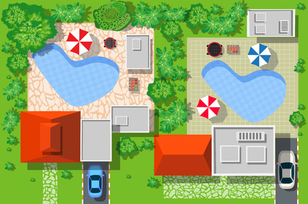 city view: Top view of the city. Top view of a country cottage with cars and houses.