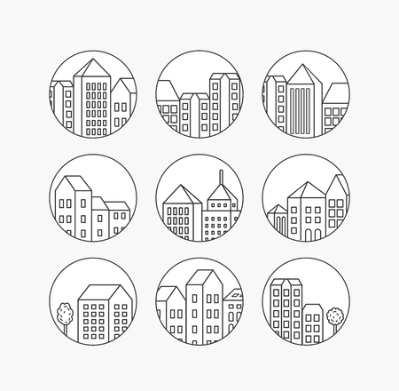 Linear city icons set for design and real estate