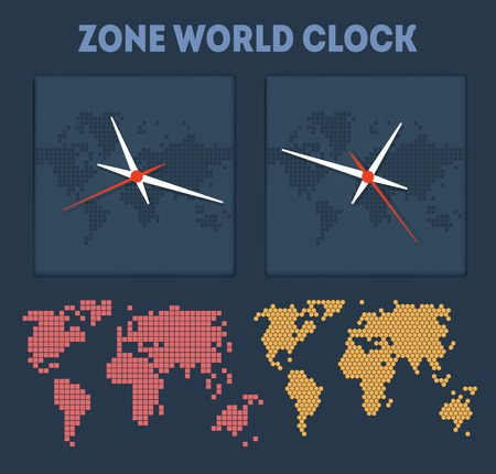 timezone: Zone World time with maps and clocks Illustration