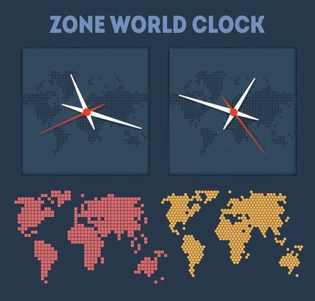 Zone World time with maps and clocks Çizim