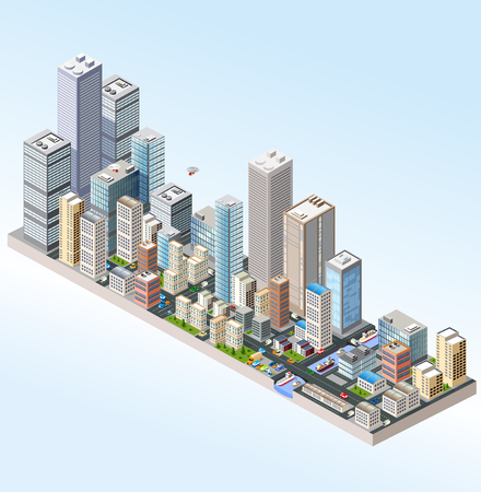 city building: Isometric in a big city with streets, skyscrapers, cars and trees. Illustration