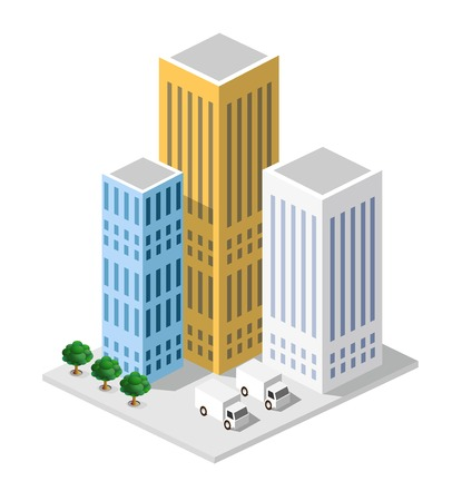 office building: Isometric in a big city with streets, skyscrapers, cars and trees. Illustration
