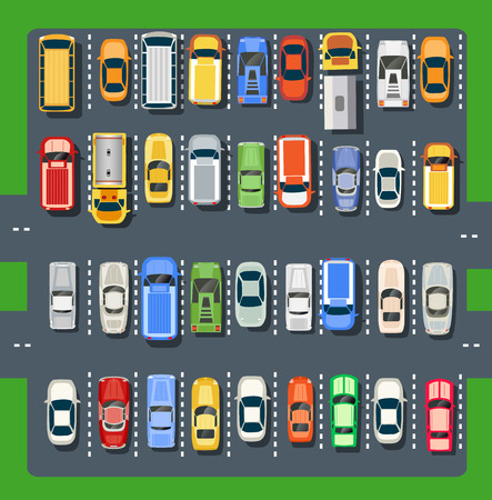 Top view of a city parking lot with a set of different cars