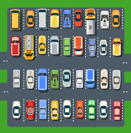 Vista superior de un estacionamiento de la ciudad con un conjunto de diferentes coches