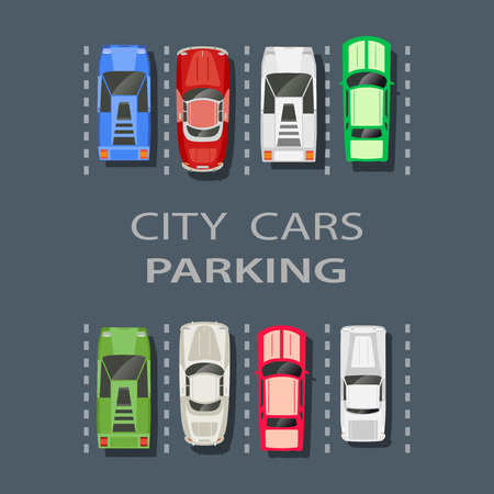 lot of: Top view of a city parking lot with a set of different cars Illustration