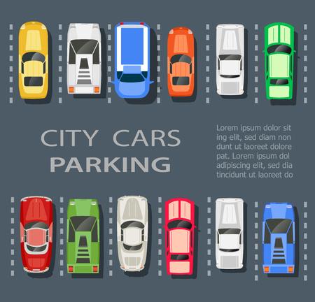 Vue de dessus d'un parking de la ville beaucoup avec un ensemble de différentes voitures