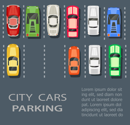 a lot: Top view of a city parking lot with a set of different cars Illustration
