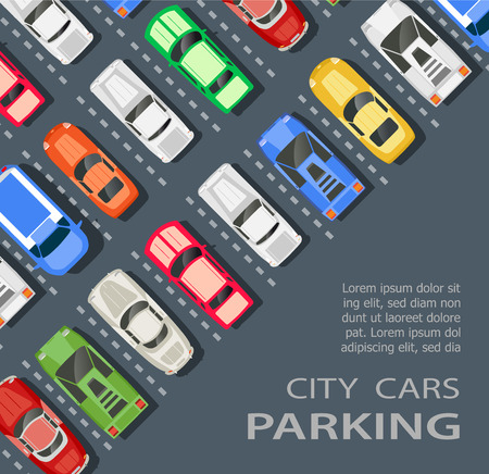 car park: Top view of a city parking lot with a set of different cars Illustration