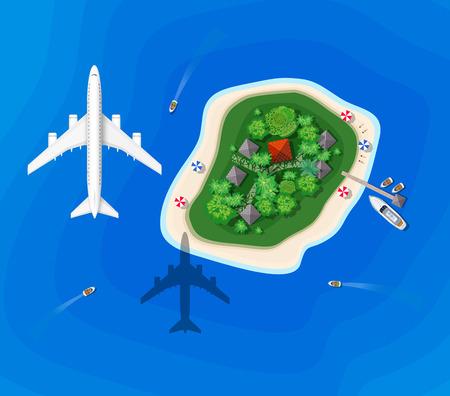 aereo: Vista dall'alto di un'isola visitare la nave con un aereo che vola