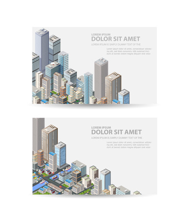 Business card of real estate agency or a travel portal with isometric city with buildings, offices and skyscrapers