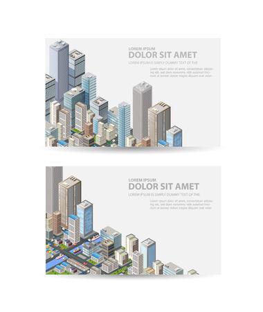 Tarjeta de visita de la agencia de bienes raíces o un portal de viajes con la ciudad isométrica con edificios, oficinas y rascacielos
