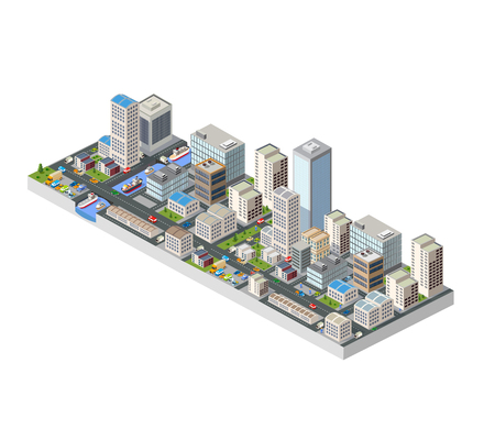 Large isometric city with buildings, offices and skyscrapers