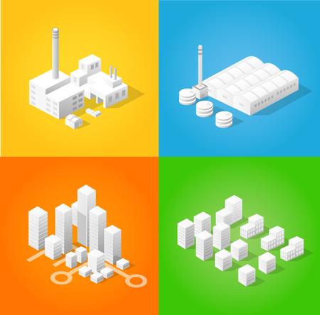 isometry: Big bundle set of design templates, design elements, isometric objects buildings