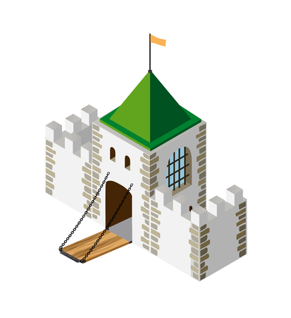 fortification: Fortress protection guard isometric projection of building architecture