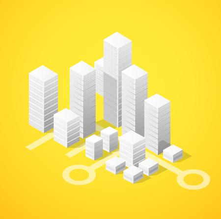 city block: Isometric city block of skyscrapers flat illustration