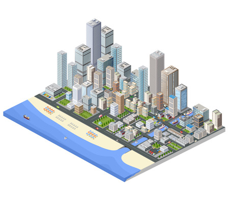 Isometric city. Skyscrapers, houses and streets in the metropolis isometric view. Stock Illustratie