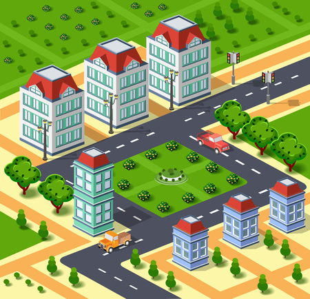 Ilustración de la ciudad con la infraestructura urbana. Ciudad isométrica. Vista isométrica de casas urbanas, calles, caminos y árboles. parques y edificios isométricos. Ilustración común del vector