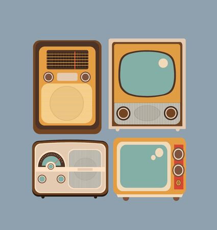 old style retro: Set of objects in retro style. Old Radio and TV Illustration