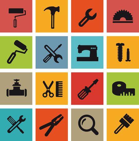 Computer pictogrammen met building tools en objecten reparatie