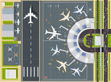 Airport bovenaanzicht met het vliegtuig, de terminal en landingsbaan