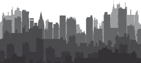 reflection of life: Silhouette of a city landscape with skyscrapers and city buildings
