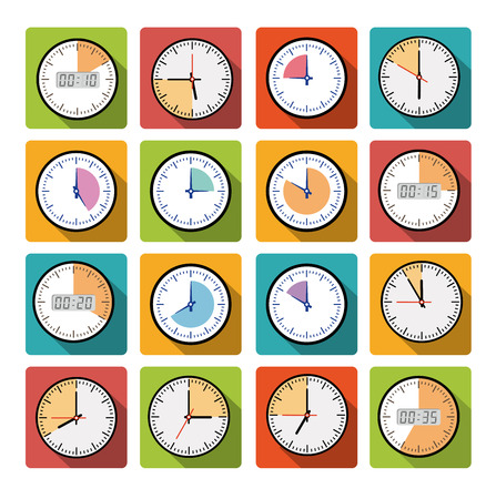 clockworks: Set clock with the timer in different colors in the style of flat infographics