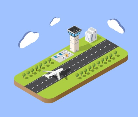 Isometrische kaart van de luchthaven van de stad, de bomen en de vlucht van de bouw