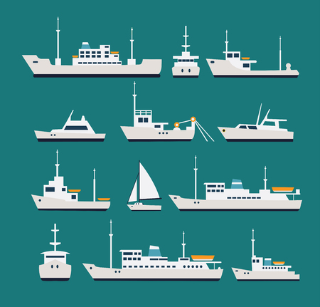 yachts: Ships flat set. Silhouettes of various boats and yachts