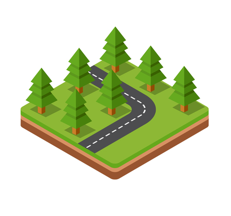 grass isolated: Isometric trees on three-dimensional space of the road