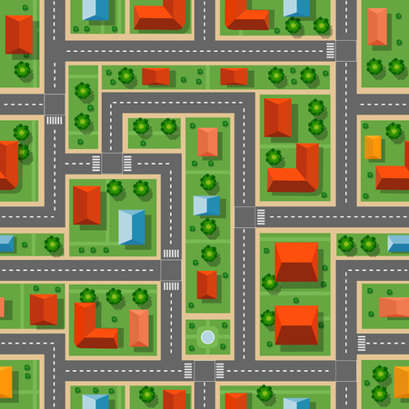 Top view of the city seamless pattern of streets, roads, houses, and cars Stock Illustratie