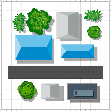 city view: Top view of the city. Urban  street with houses and trees Illustration
