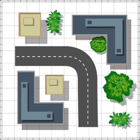 urban street: Top view of the city. Urban  street with houses and trees Illustration