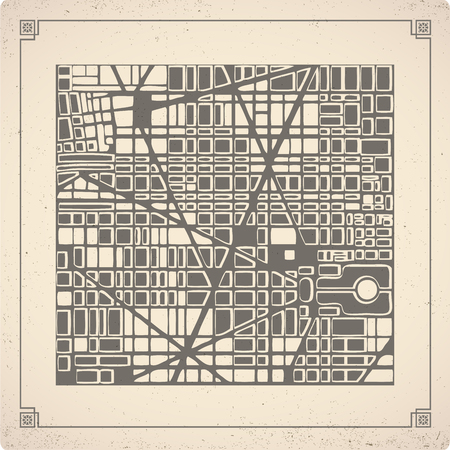fictional: Retro map  of the city.   Editable vector street map of a fictional generic town. Abstract urban background. Illustration