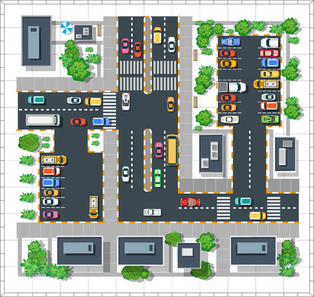 Top view of the city. Urban  street with houses and trees  イラスト・ベクター素材